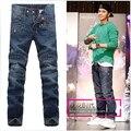 Джинсы бесплатная доставка тонкий хлопок прямо марка мода джинсовые брюки прилив пункт мужская Marcas Famosas кожа да кости / 28 - 36