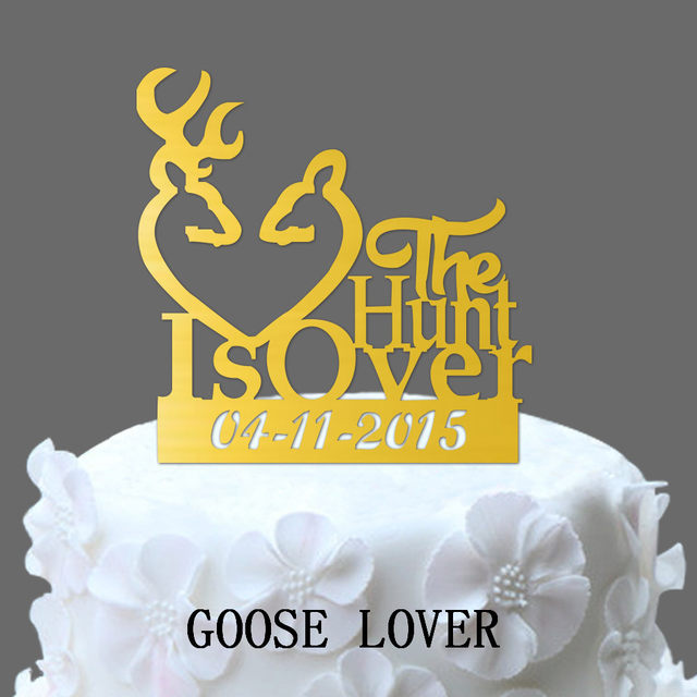 Online Shop The Hunt Is Over Wedding Cake Topper - Buck Doe And ...