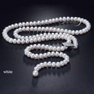 Image 3 - Dacqua dolce nappa lunga collana di perle donne, reale naturale collana di perle da sposa corpo multi strato di colore per migliore amico delle ragazze