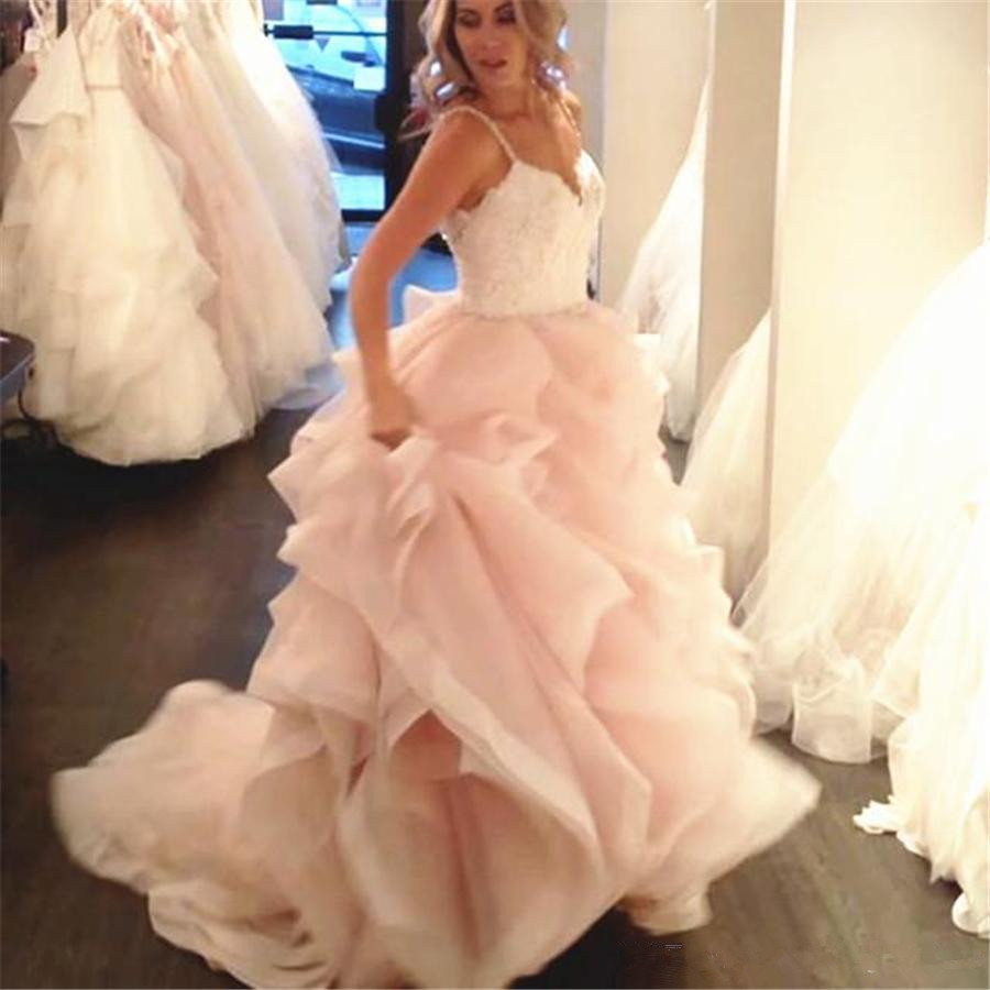 Spaghetti Straps Lace Appliques Sweetheart Ruffled Organza Layered Wedding Dresses Ball Gowns 2019 With Color Bridal Dress