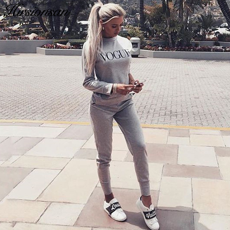 Hirsionsan Two Piece Set Women 2019 Vogue Sportswear Suit Set Casual Sweatshirt And Pants Tracksuit Long Sleeve Sporting Outfit