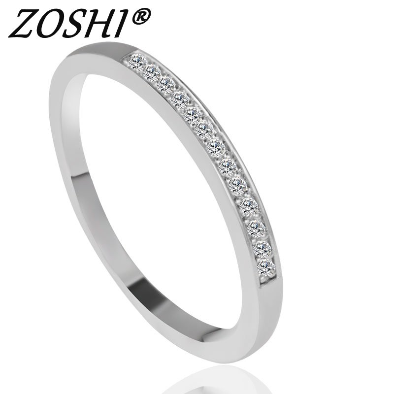 Zirkon Crystal Fashion Silver Plated CZ Jewelry Wedding Rings Charming Jewellery For Women Bijoux Wholesale Price
