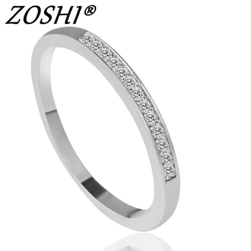 웃 유Zirkon cristal moda plata plateada CZ joyería de boda Anillos ...