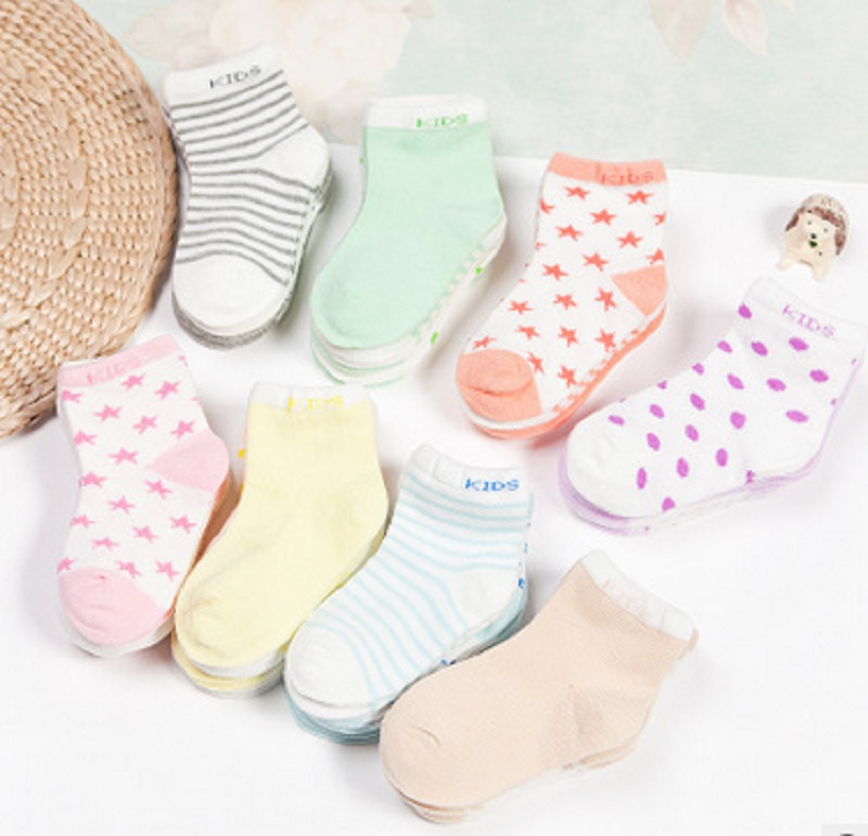 5Pair/Lot New 2016 Cotton Baby Socks Striped Dot Design New Born Short Socks For Kids Girls and Boys Hot Sale
