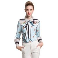 European Style 2018 Spring Summer Socialite Runway Heavy Printing Turn Down Collar All Match Slim Shirt
