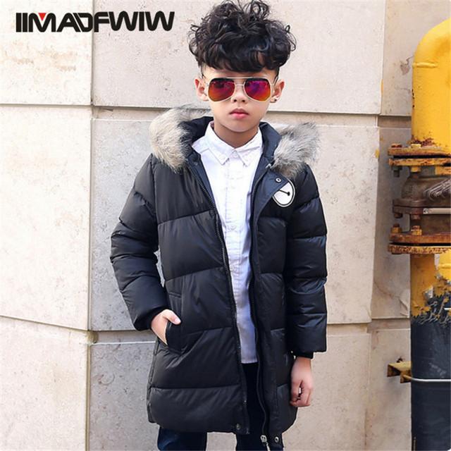 Con capucha Para Niños Chaquetas Niños Niñas Abrigo de Invierno de la Moda Prendas de Vestir Exteriores Larga Ropa de Invierno Para 3-10 T Niños 2016 Nueva Llegada