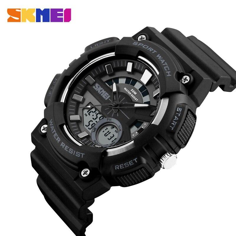 100% Wahr Skmei Outdoor Sport Uhr Männer Mode Chrono 5bar Wasserdichte Uhren Dual Display Armbanduhren Relogio Masculino 1235