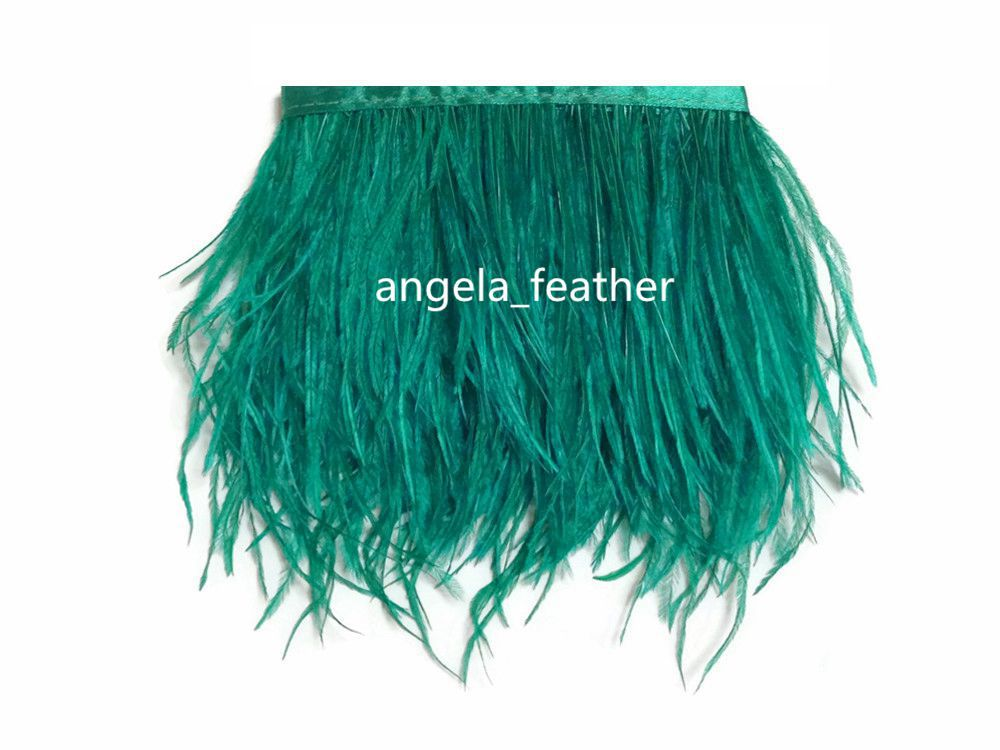 10 yards Ocean Green Ostrich Feather Trimming Fringe on Satin Header 5-6inch in width fo ...