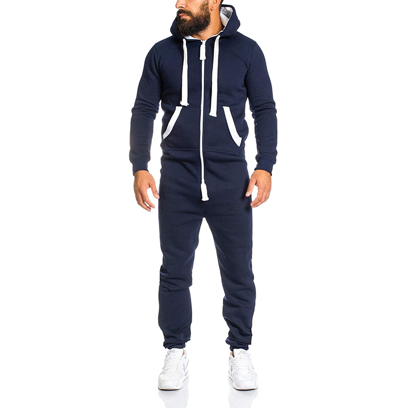 Men's Casual Long Sleeve Cotton Overalls Pants Jumpsuits Rompers Trousers Personality One piece Hooded Men's Sweater
