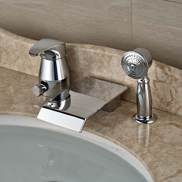 Bathroom Chrome Brass Tub Faucet W/ Hand Shower Sprayer