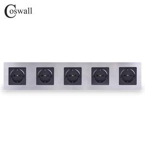 Image 1 - Coswall ステンレス鋼パネル 5 ギャング壁ソケット 16A eu ロシアスペインコンセントシルバーブラックカラーの子保護ドア