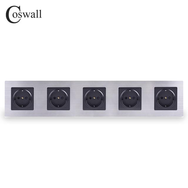 Coswall ステンレス鋼パネル 5 ギャング壁ソケット 16A eu ロシアスペインコンセントシルバーブラックカラーの子保護ドア
