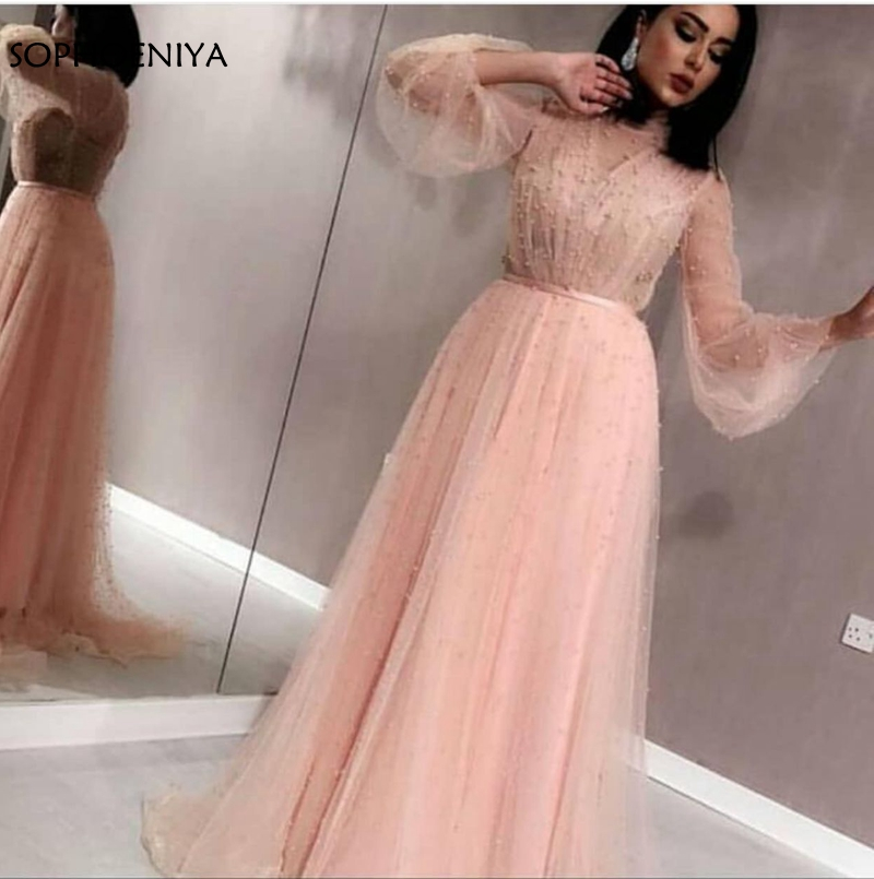 New Arrival Tulle   dress   Pink Long sleeve   evening     dresses   2019 Pearls Beaded   Evening   gowns Dubai Arabic muslim   evening     dress