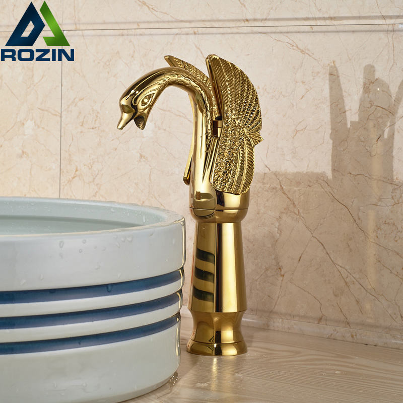 все цены на Golden Swan Style Countertop Bathroom Vessel Sink Mixer Faucet Single Handle One Hole Water Taps онлайн