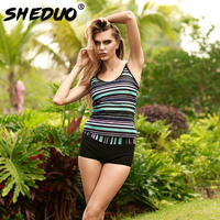 2017 New High Waist Conservative Two Piece Swimsuit