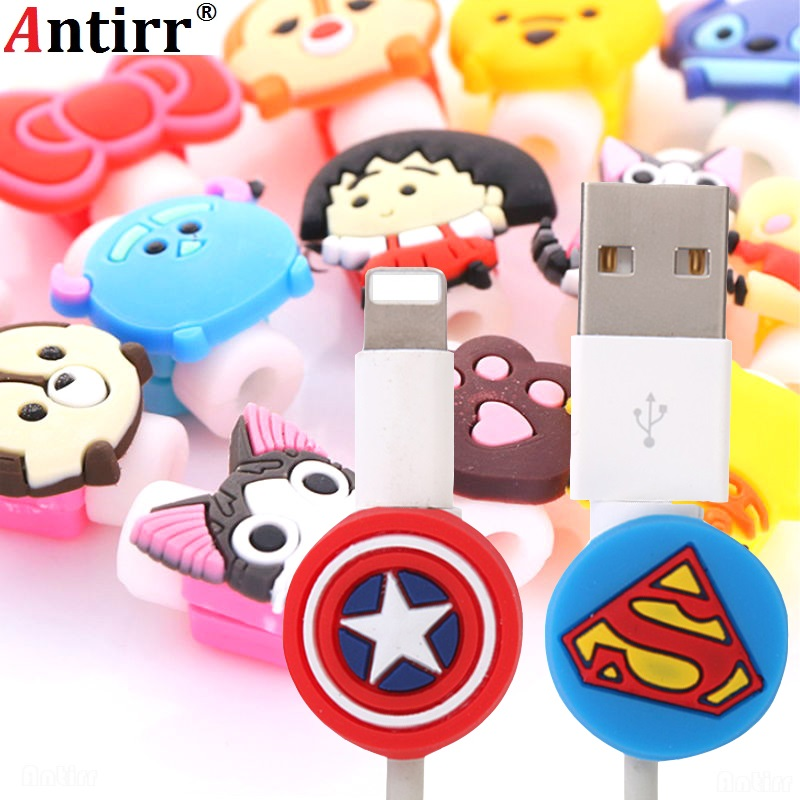 Antirr 10pcs/lot Cartoon USB Cable Earphone Protector Headphones Line Saver For Mobile Phone Charging Line Data Cable Protection
