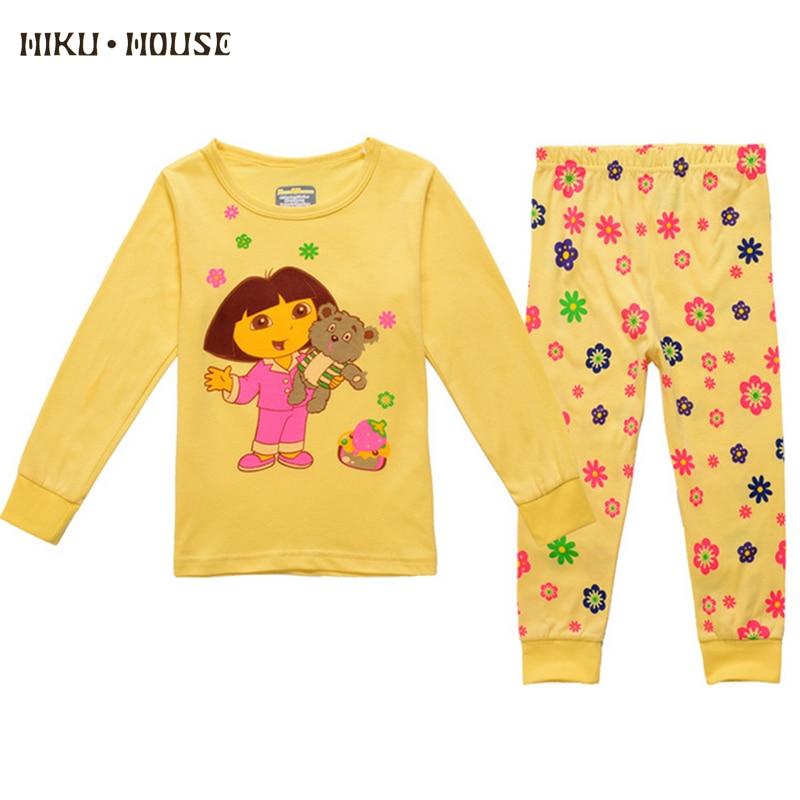 19a9cfad5 New Spring Girls Pajamas Animal Flower Print Pyjamas Kids Cotton ...