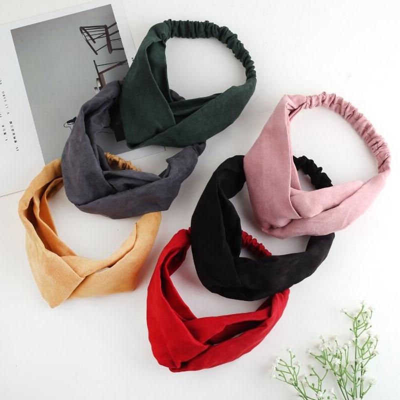 Twdvs Frauen Stirnband Elastische Turban Verdrehte Knotted Headwear Neue Mode Feste Farbe Wildleder Kreuz 1 Pc Blume Haar Zubehör