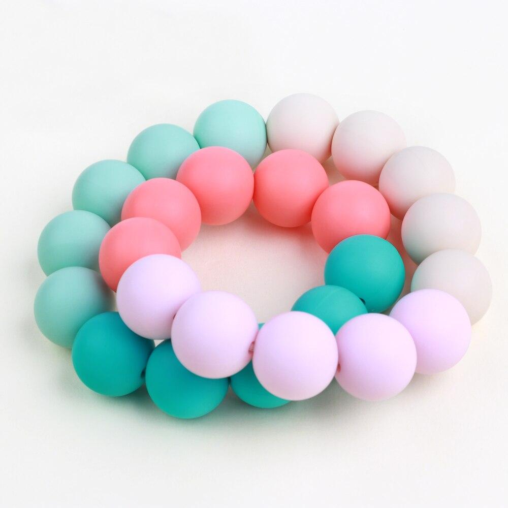 10PC Naturel Perles de silicone DIY Collier Bracelet Accessoires Jouets pour b/éb/é Fait main Cadeau Best for baby Couleur Silicone dentition Sans BPA Anneau de dentition 15mm