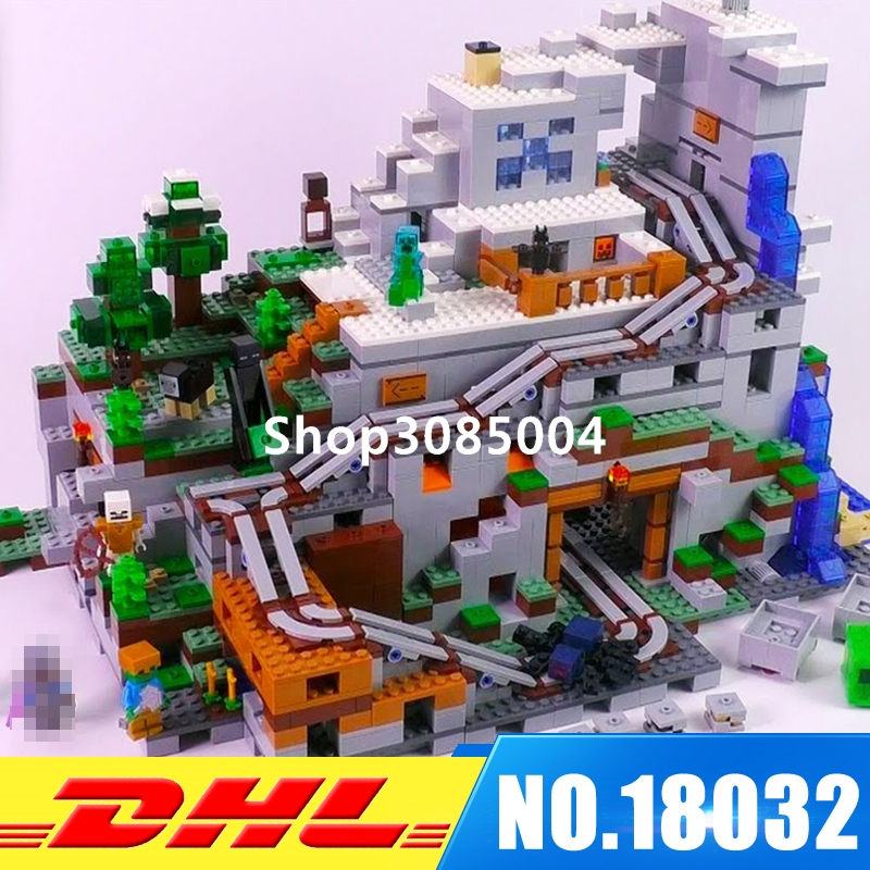 In Stock LEPIN 18032 2932 PCS The Mountain Cave My worlds Model Building Kit Blocks Bricks Children Toy for Children 21137 dhl lepin 18032 2932 pcs the mountain cave my worlds model building kit blocks bricks children toys clone21137 in stock
