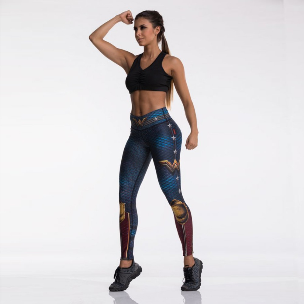 Fashion Tibetan Blue Captain Fight Push Up Workout Leggings Slim Leggings Women Sexy Sportswear High Waist Leggings Workout
