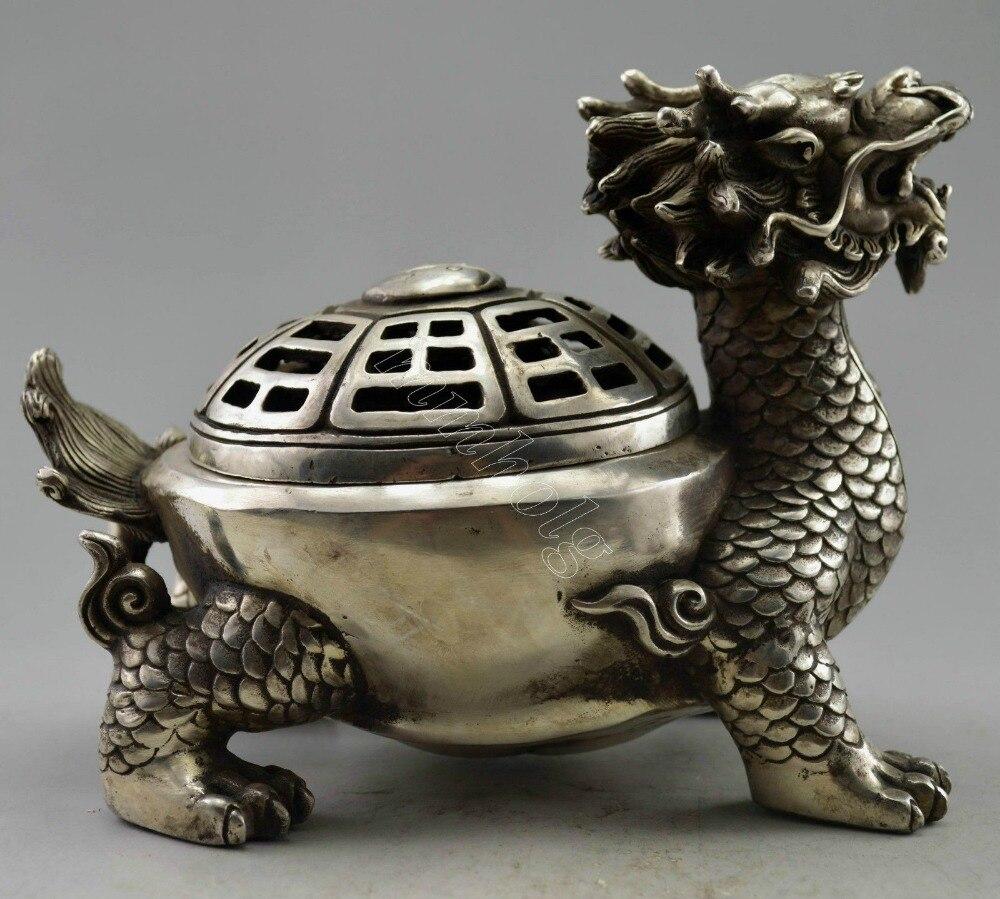 Brûleur d'encens en forme de Dragon argenté tibétain - 3
