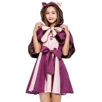 Hot Sale Purple Womens Wonder Cat Cosplay Clothing Movie Alice In Wonderland Adult Halloween Costume