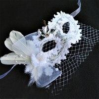 Kadın Moda Yetişkin Parti Masquerade Prenses Maske Güzellik Mizaç Gizemli Dantel Tüyler Grenadine örme Beyaz Maske
