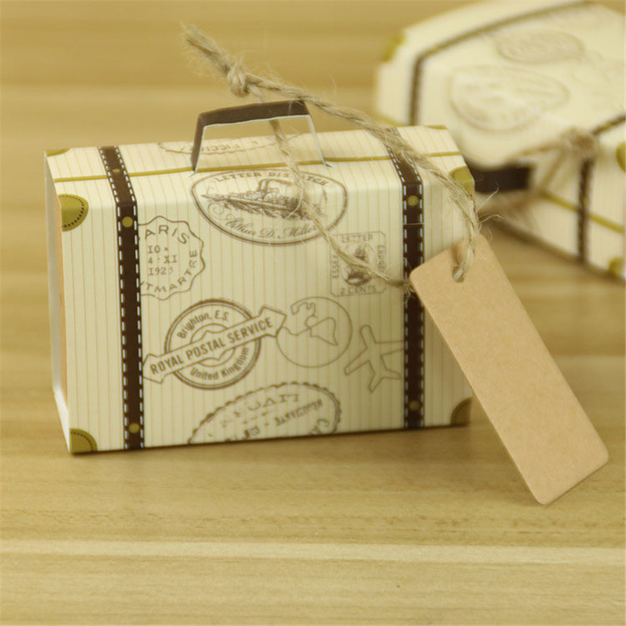 wholesale 200pcs kraft paper trunk candy box with gift tag travel wedding favors souvenirs rustic wedding