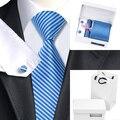 Conjuntos Gravata Listrada Azul B-1204 Corbatas Hombre Mens Gravatas de Lenço Abotoaduras com Caixa e Saco Branco Gravatas Laços Para Homens