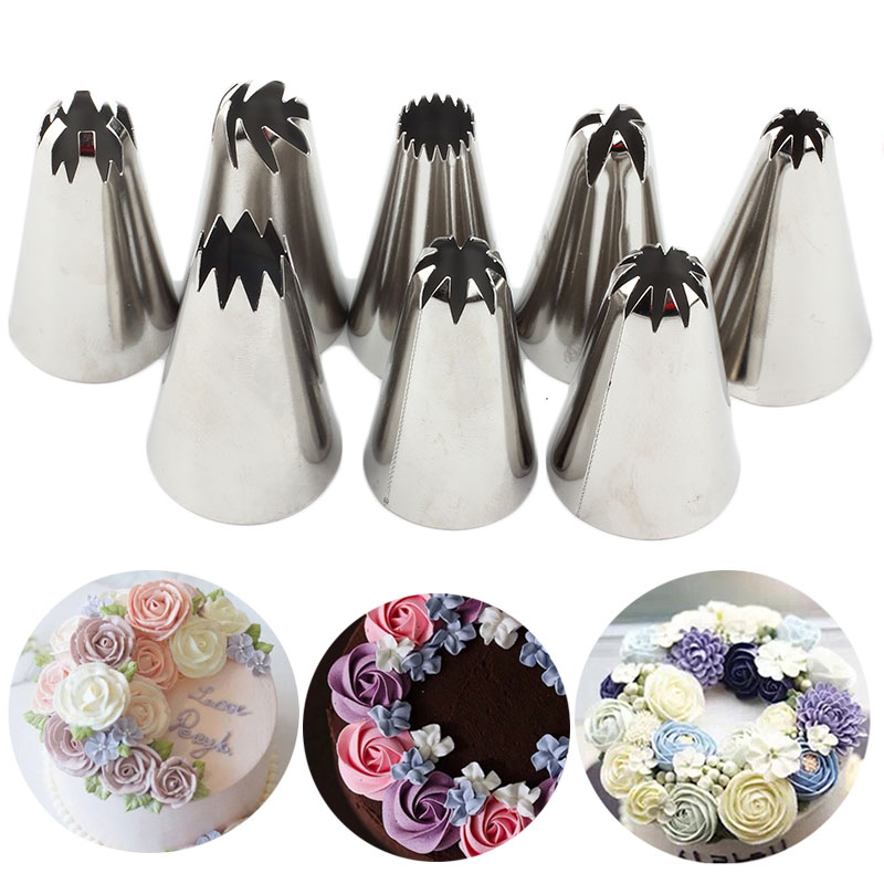 8 Stks/sets Rvs Russische Icing Piping Nozzles Pastry Decorating Tips Cake Cupcake Decorateur Rose Keuken Accessoires