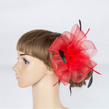 Clical Color Crinoline Fascinator Headwear Colorful Mesh Feather Church Show Hair Accessories Millinery Tail Hats Myq038