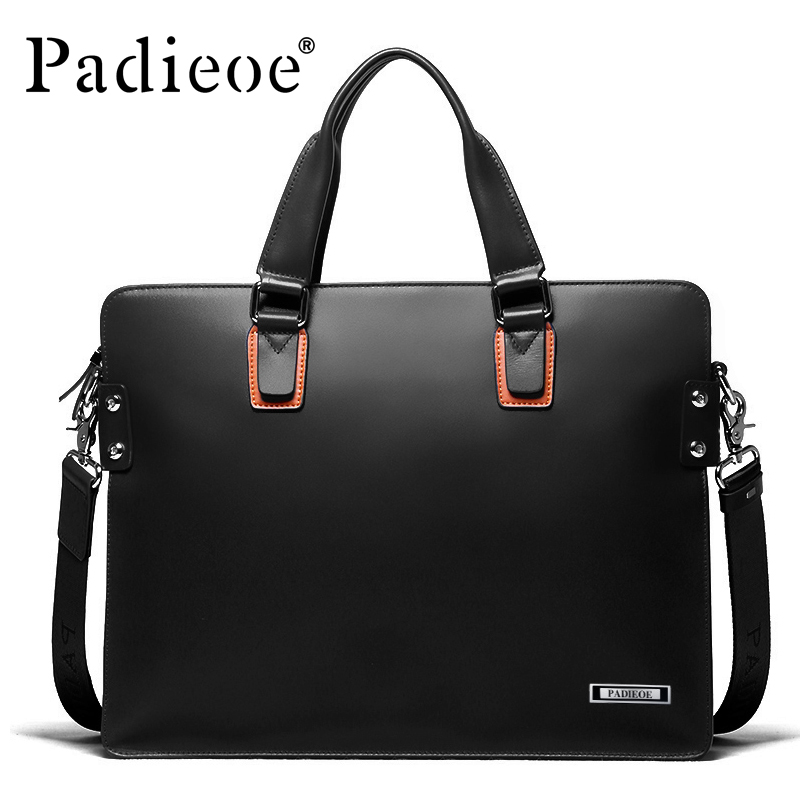 Padieoe Laptop Briefcase Handbags Messenger-Bags Business Genuine-Leather Luxury 14inch