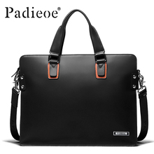 Padieoe Men 14 inch Laptop Briefcase Genuine Leather Men