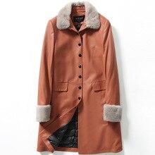YOLANFAIRY Genuine Leather Jacket Women Sheepskin Leather Mink Hair Collar Down Jackets Winter Jaqueta de couro MF068