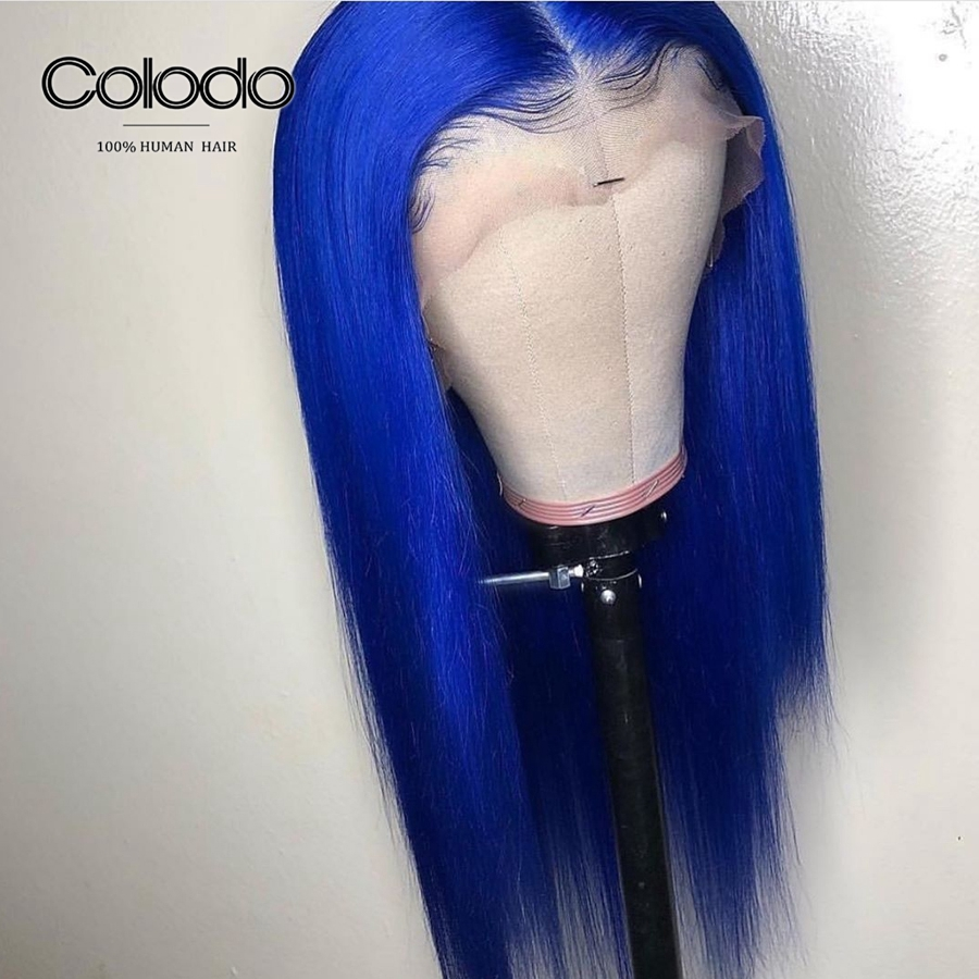 COLODO Brazilian Straight Lace Frontal Wig 13X6 Blue Colored Human Hair Wigs for Women Glueless Remy