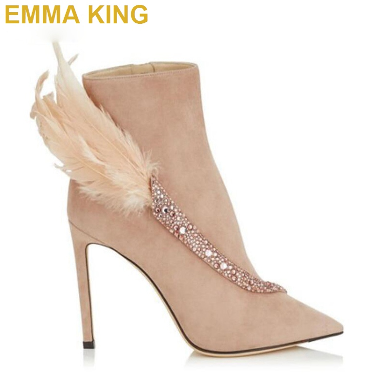 EMMA KING Fashion Crystal Feather Ankle Boots For Women Pointed Toe Stiletto Booties Sexy Ladies Winter Shoes Short Boots 35-43EMMA KING Fashion Crystal Feather Ankle Boots For Women Pointed Toe Stiletto Booties Sexy Ladies Winter Shoes Short Boots 35-43