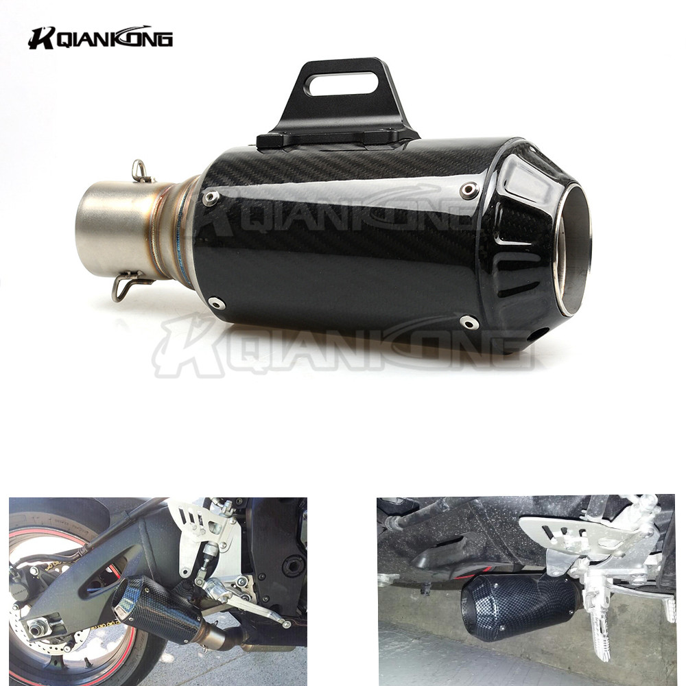 Universal Motorcycle Scooter Modified  Muffler carbon exhaust pipe for honda cb1000r 250 cb600f cbf600 FZR 1000 CBR 1000 RR SP2