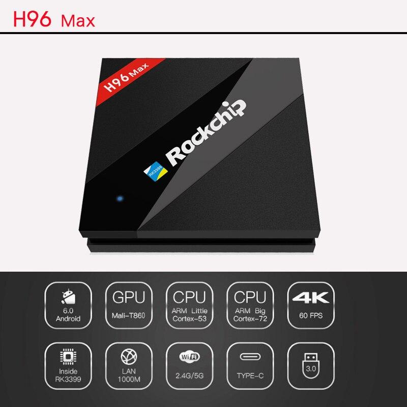 H96 MAX TV Box H.265 4 K Android TV Box RK3399 décodeur intelligent lecteur multimédia 6 cœurs 2.0G Support Miracast/DLNA pour IPTV HDMI