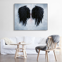 Laeacco Canvas Black Wings Painting Calligraphy Abstract Wall Art Picture Modern Home Decor Posters and Prints for Living Room цена