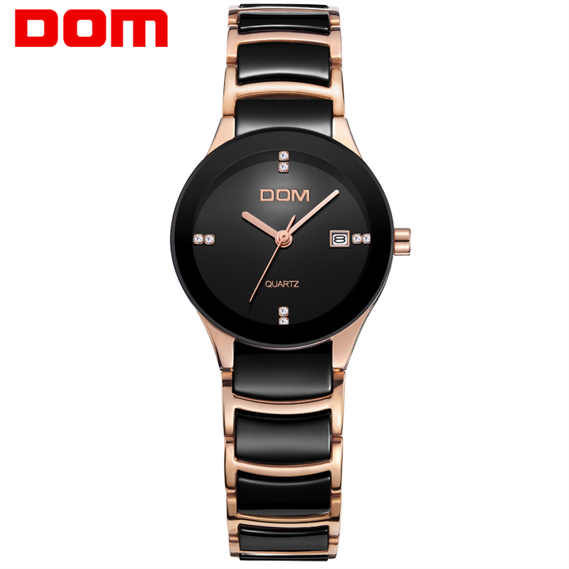 DOM Ladies Watch brand waterproof quartz ceramic nurse hombre marca de lujo women's watches clock wrist watch For woman New T529 classic style natural bamboo wood watches analog ladies womens quartz watch simple genuine leather relojes mujer marca de lujo