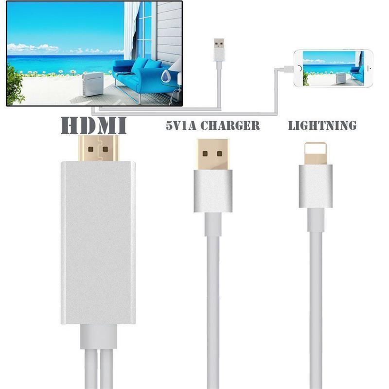 New 8 pin 2M Apple Lightning to HDMI HDTV AV Cable Adapter for iPhone 6 6S 5S 5