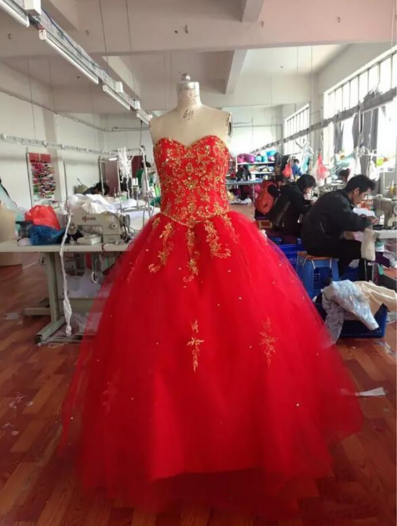 Embroidery Red Gold Quinceanera Dresses 2016 Ball Gown Beaded