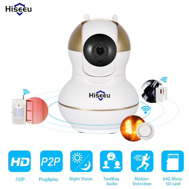 HD 720P Wireless IP Camera 433MHz Infrared Door/PIR/Smoke Sensor Alarm system Hiseeu