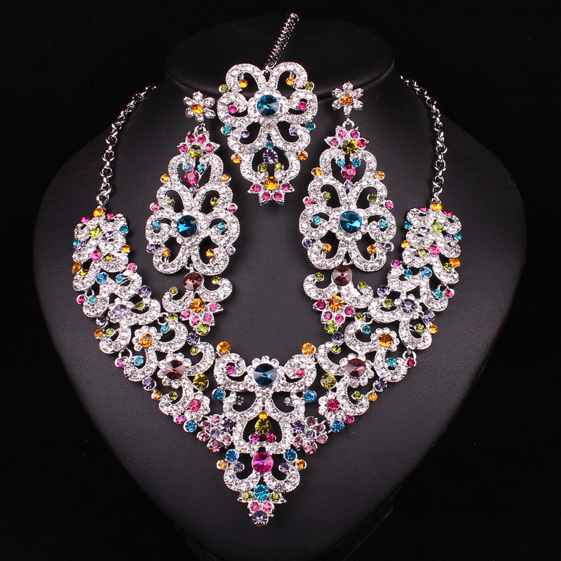Style 123202 Diamontrigue Jewelry: Indian Style Rhinestones Necklace & Earrings Sets Silver
