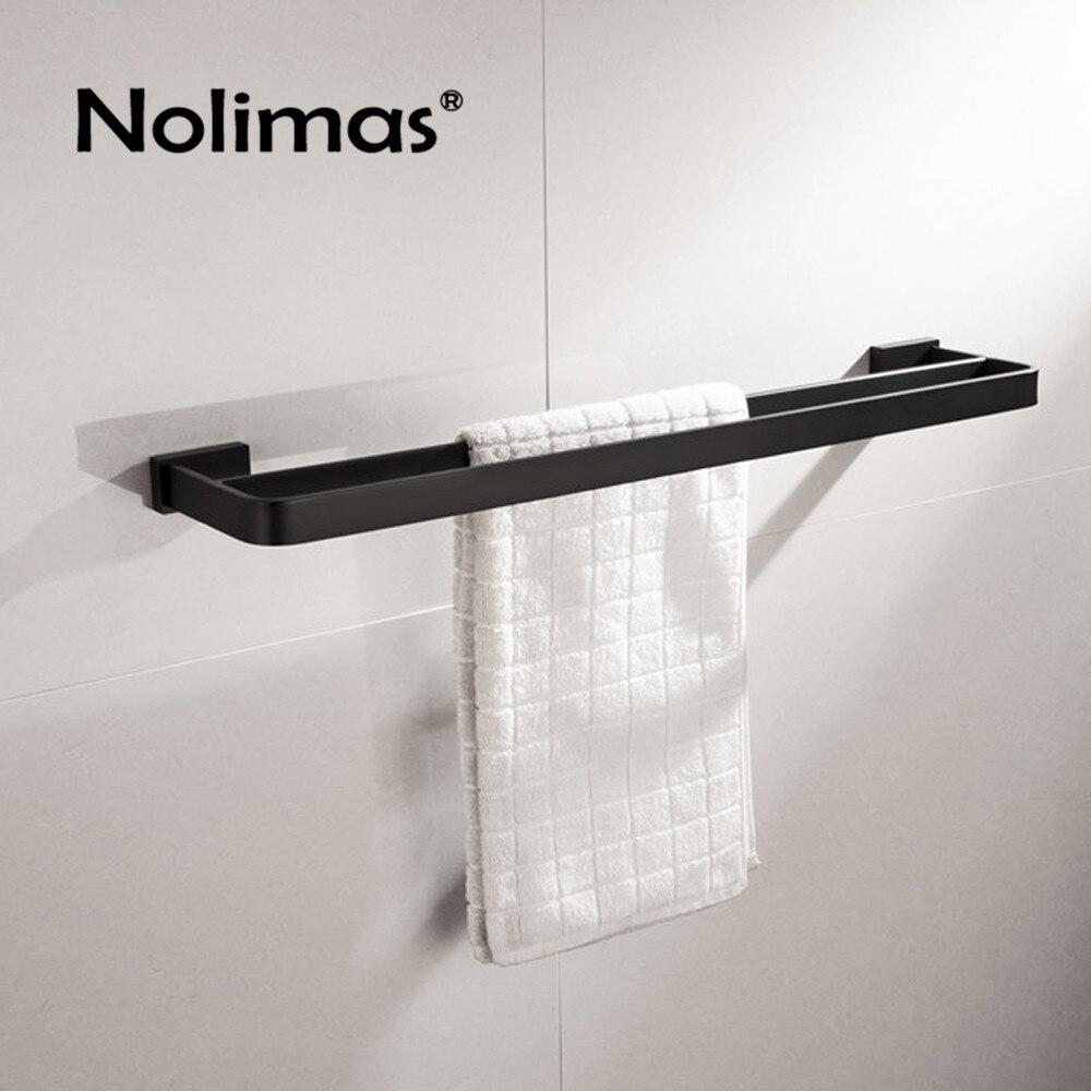 SUS 304 Stainless Steel Black Square Double Towel Bar Towel Shelf In The Bathroom Matte Black