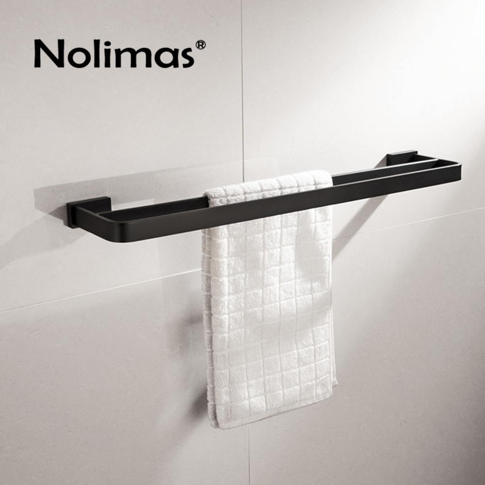 SUS 304 Stainless Steel Black Square Double Towel Bar Towel Shelf In The Bathroom Matte Black Wall Mounted Towel Holder viborg deluxe sus304 stainless steel foldable wall mounted bathroom towel rack shelf towel holder storage