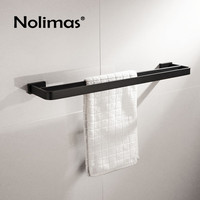 SUS 304 Stainless Steel Black Square Double Towel Bar Towel Shelf In The Bathroom Matte Black Wall Mounted Towel Holder
