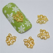 BELESHINY 10 Pcs/Lot Manicure Silver Alloy Rhinestones love For Nails Strass Charms 3D Nail Art Decorations