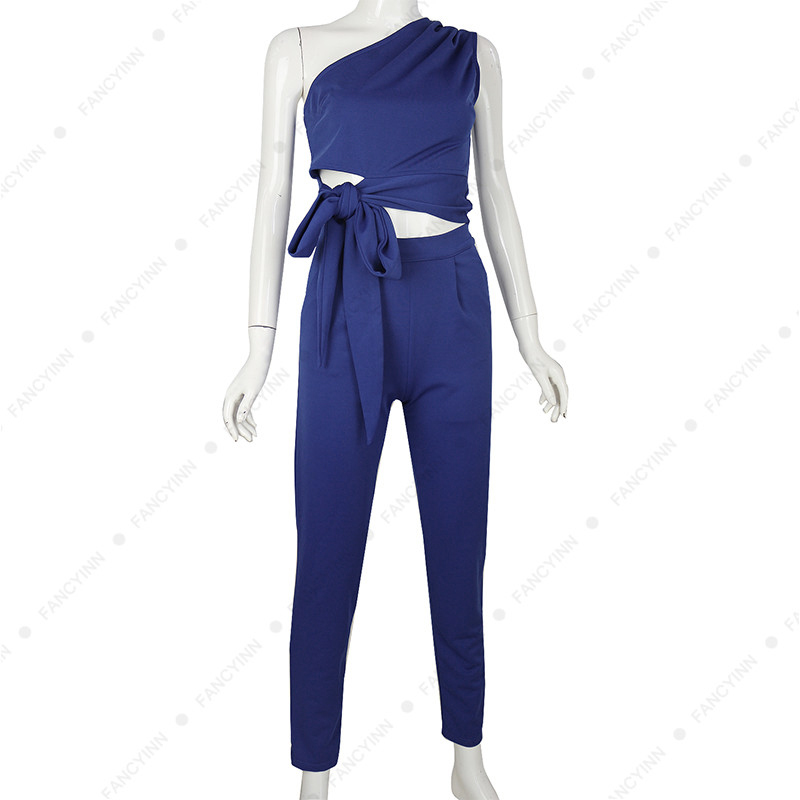 FANCYINN Women 2 PCS Set One Shoulder Hollow Out Top with Long Pants Clubwear Office Lady Work Suits Plus Size Overalls